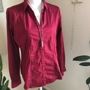 Deep red button up blouse